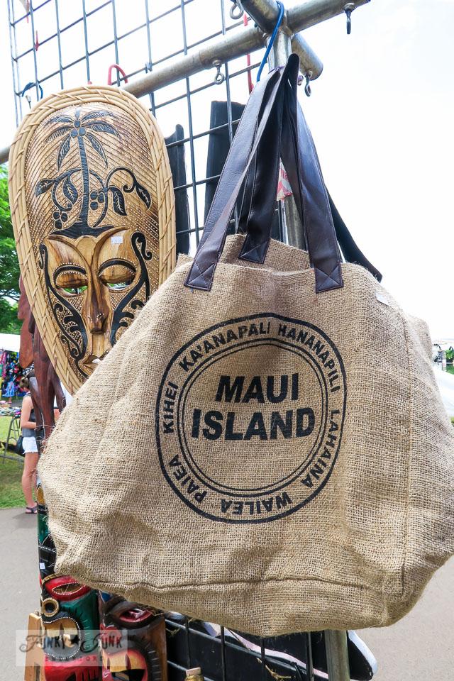 Maui Swap Meet - burlap stamped Maui tote bag from burlap | funkyjunkinteriors.net