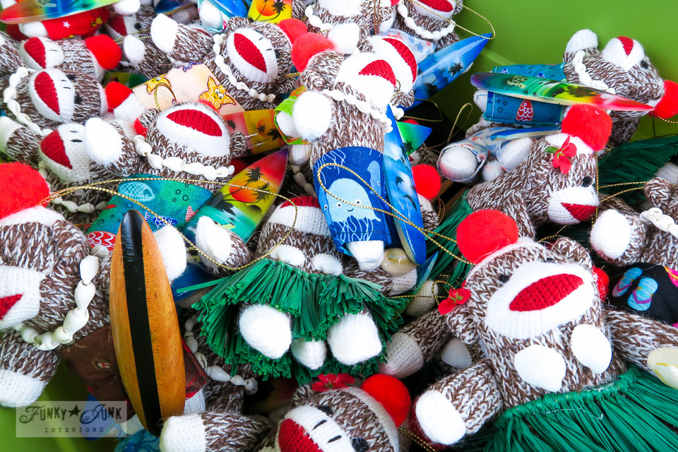 Maui Swap Meet - mini sock monkey ornaments as surfers and Hawaiians | funkyjunkinteriors.net