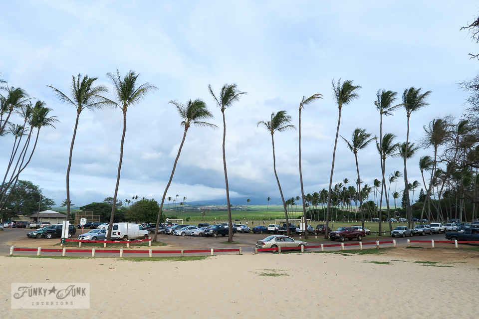 Parking lot and mountain view at Baldwin Beach in Paia, Maui | funkyjunkinteriors.net