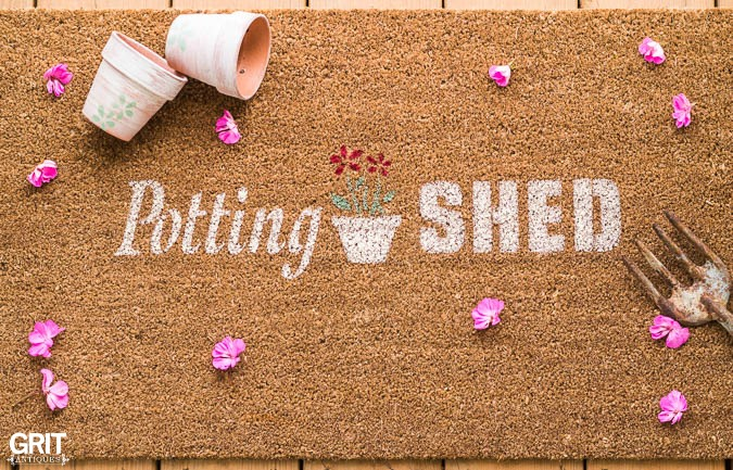 Garden themed Potting Shed front door mat design, using Funky Junk's Old Sign Stencils, by Grit Antiques, featured on Funky Junk Interiors