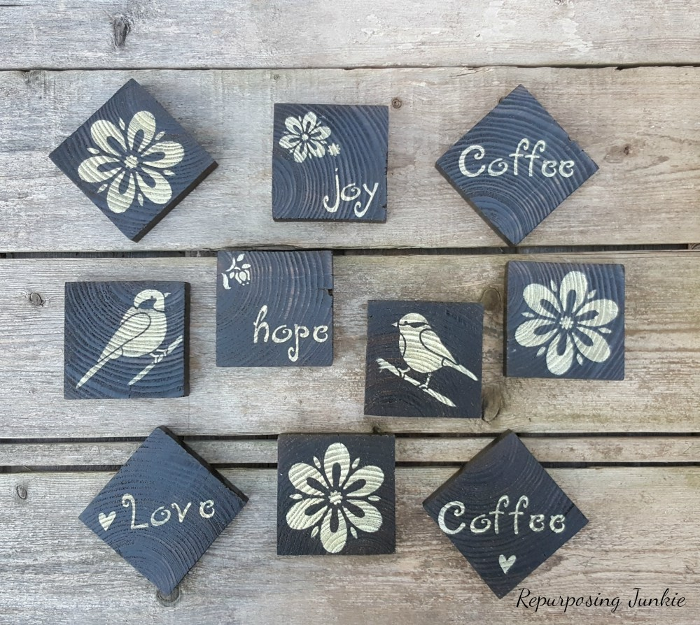 Stenciled scrap wood coasters, by Repurposing Junkie, featured on Funky Junk Interiors