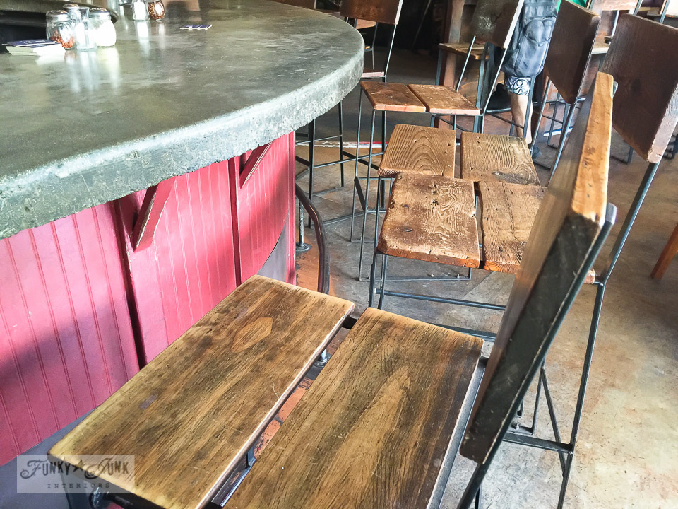 The industrial rustic chairs of The Flat Bread Company, in Paia Maui Hawaii | funkyjunkinteriors.net