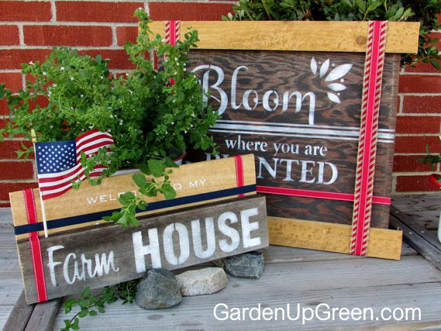 Farm House and Bloom old signs, by Garden Up Green, featured on Funky Junk Interiors