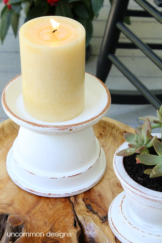 Terra cotta pot candle pedistals, by Uncommon Designs, featured on Funky Junk Interiors