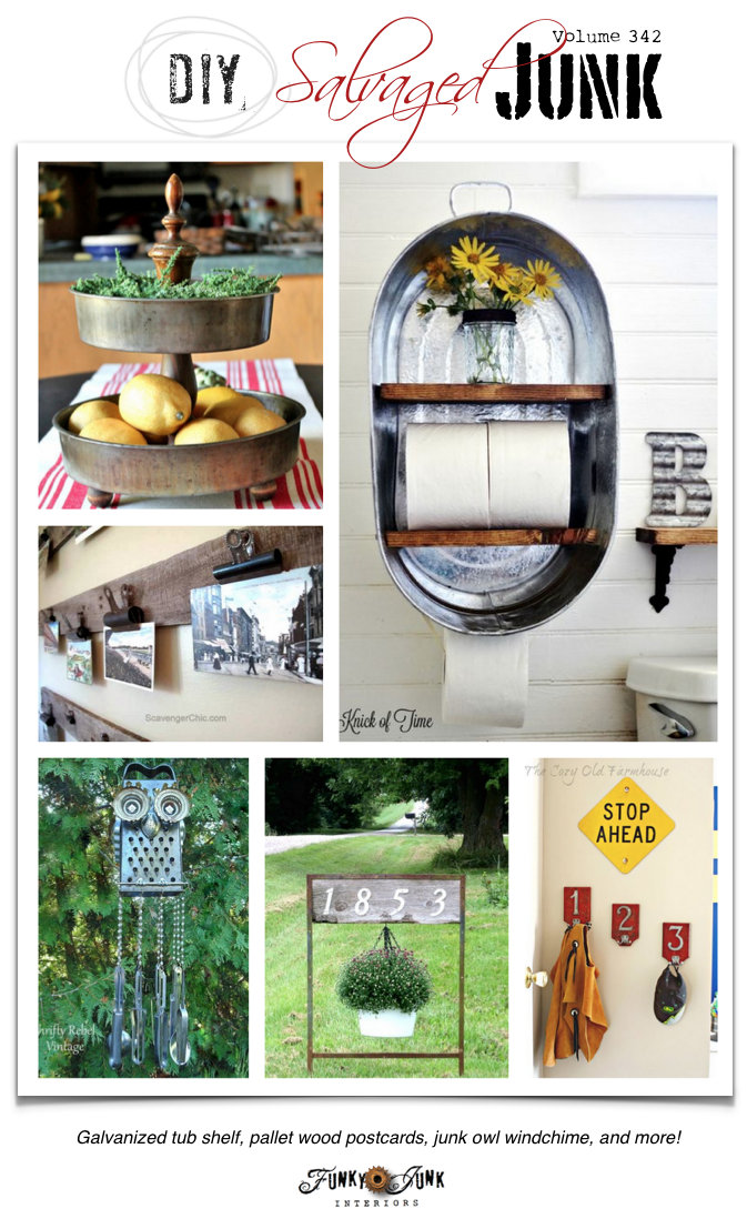 DIY Salvaged Junk Projects 342 - cool features and a junk themed link party on funkyjunkinteriors.net