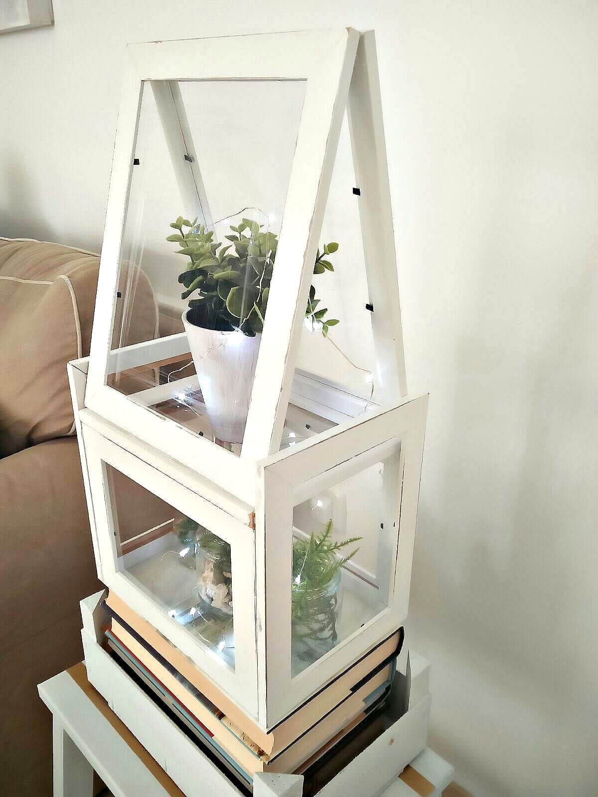 Ikea frames terrarium, by Kreativ K, featured on Funky Junk Interiors