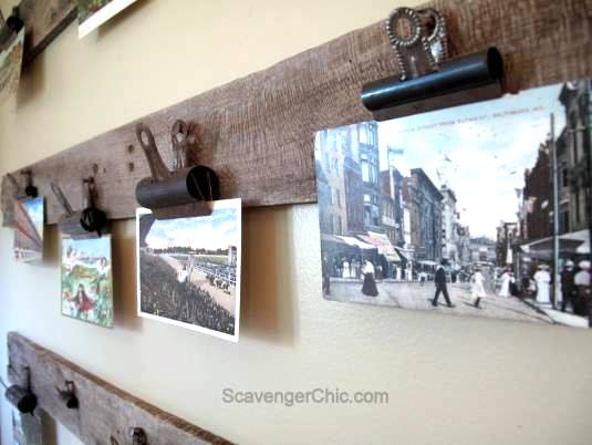 Easy pallet wood postcard display, by Scavenger Chic, featured on Funky Junk Interiors