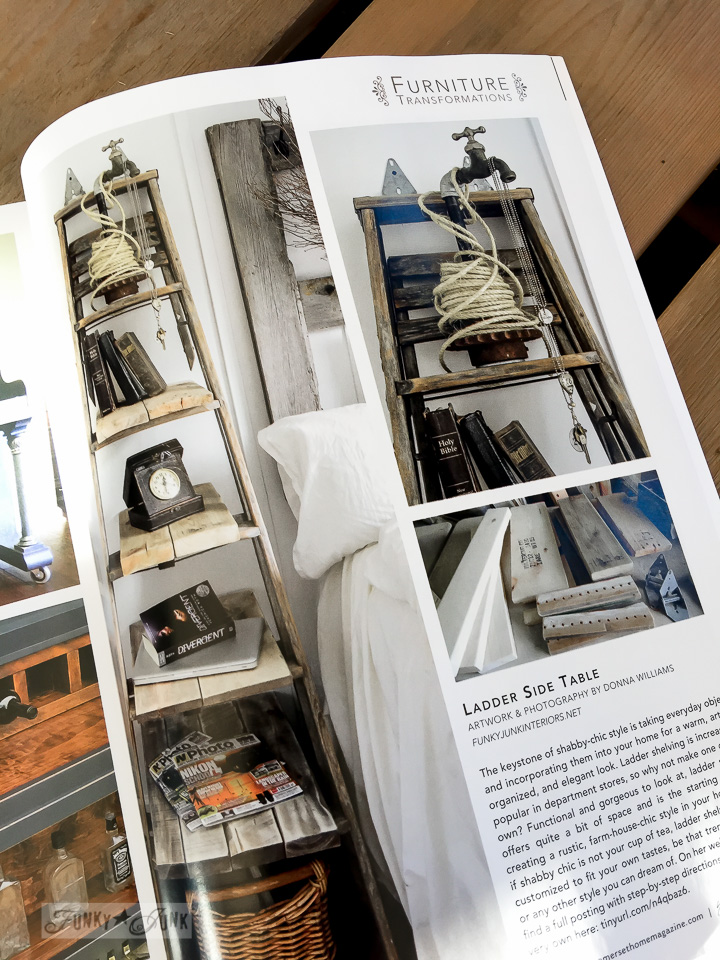 Ladder side table | Funky Junk Interiors in Somerset Home Magazine 2016 | funkyjunkinteriors.net