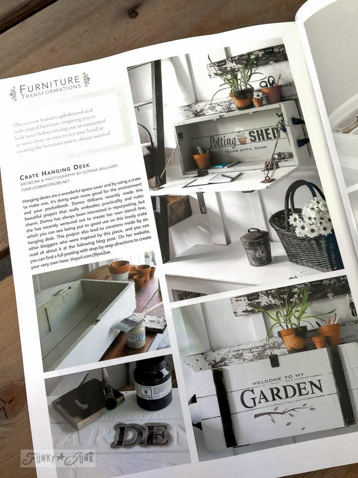 Garden themed crate hanging desk | Funky Junk Interiors in Somerset Home Magazine 2016 | funkyjunkinteriors.net