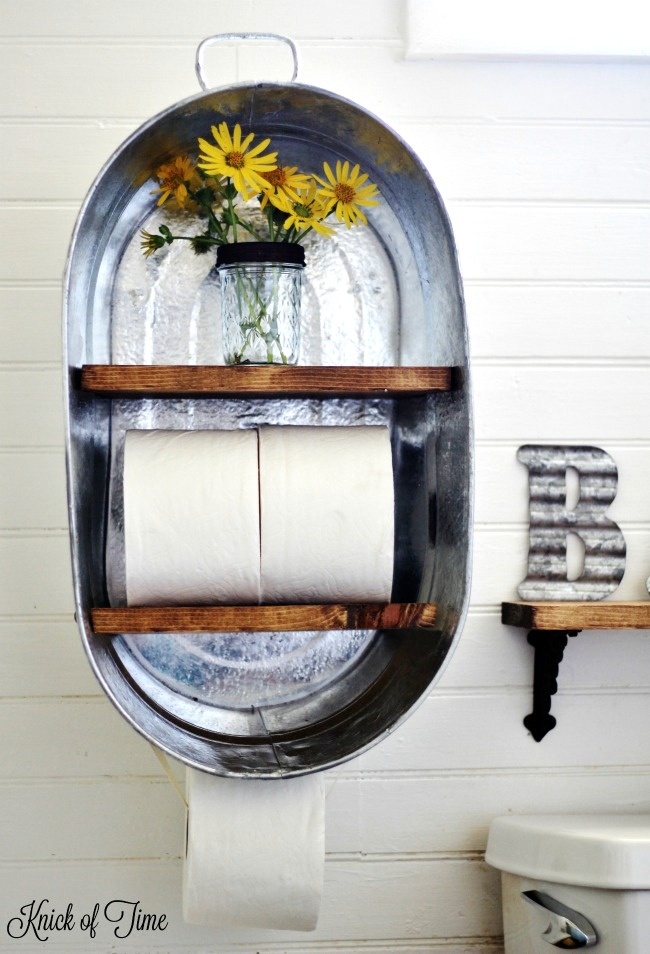 Galvanized farmhouse bathroom shelf, by Knick of Time, featured on Funky Junk Interiors