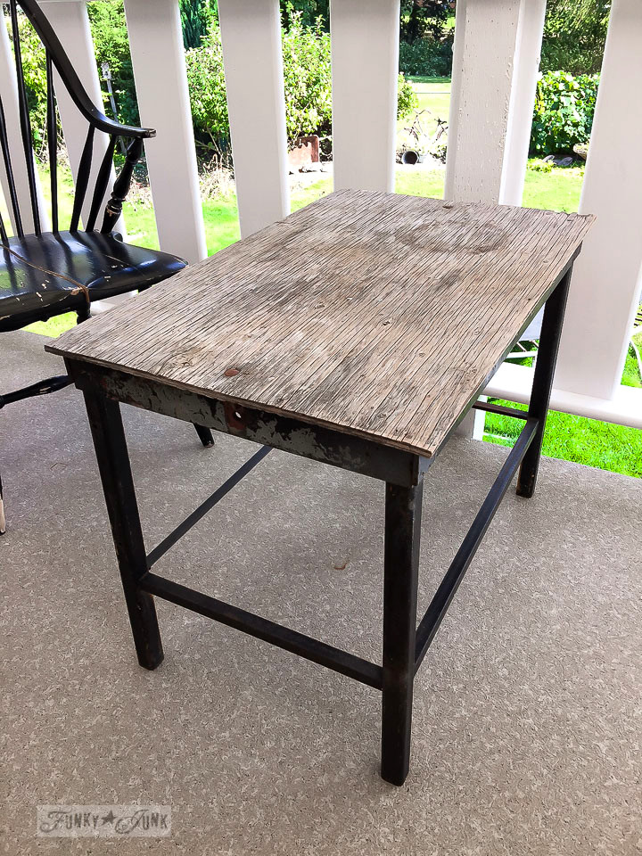 Making A Mini Farm Table From A Metal Framed Side Table |  Funkyjunkinteriors.net