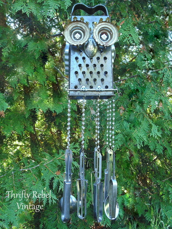 Repurposed junk owl wind chime, by Thrifty Rebel Vintage, featured on Funky Junk Interiors