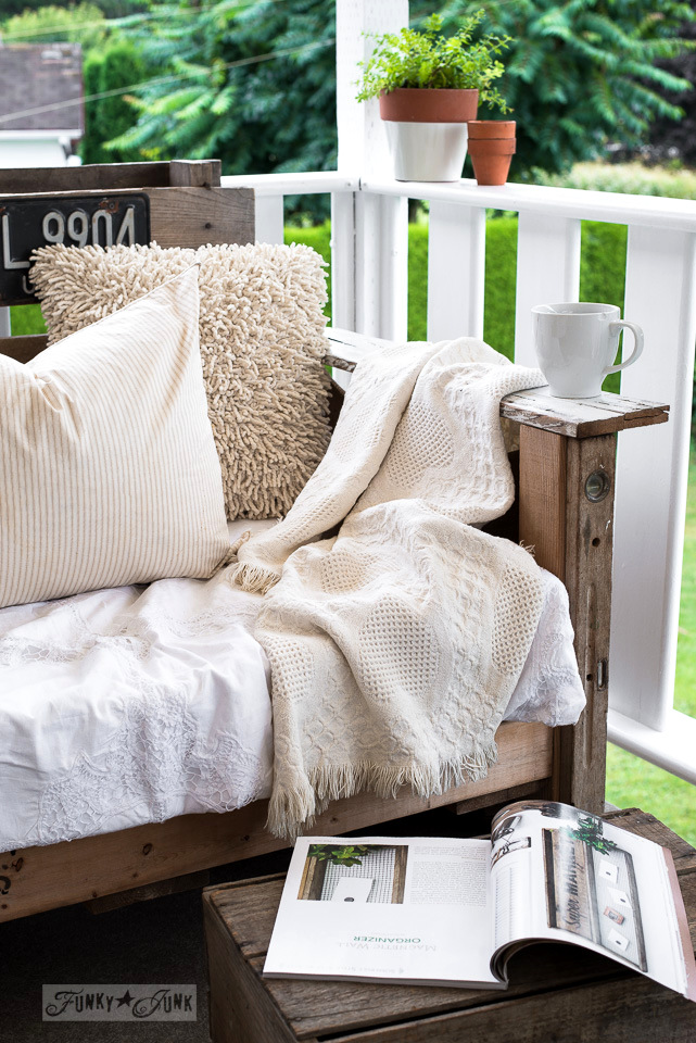 pallet wood chair with armrest for coffee | funkyjunkinteriors.net