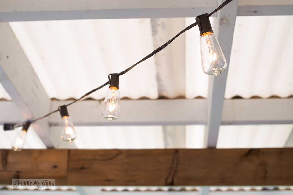 patio lights strung from the ceiling | funkyjunkinteriors.net