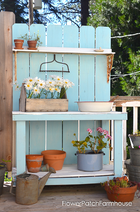 Rustic potting bench, by Flower Patch Farmhouse, featured on Funky Junk Interiors