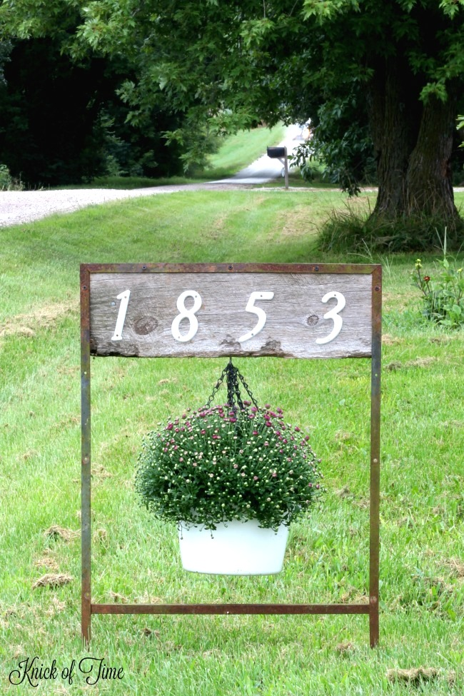 House numbers hanging flower stand, by Knick of Time, featured on Funky Junk Interiors