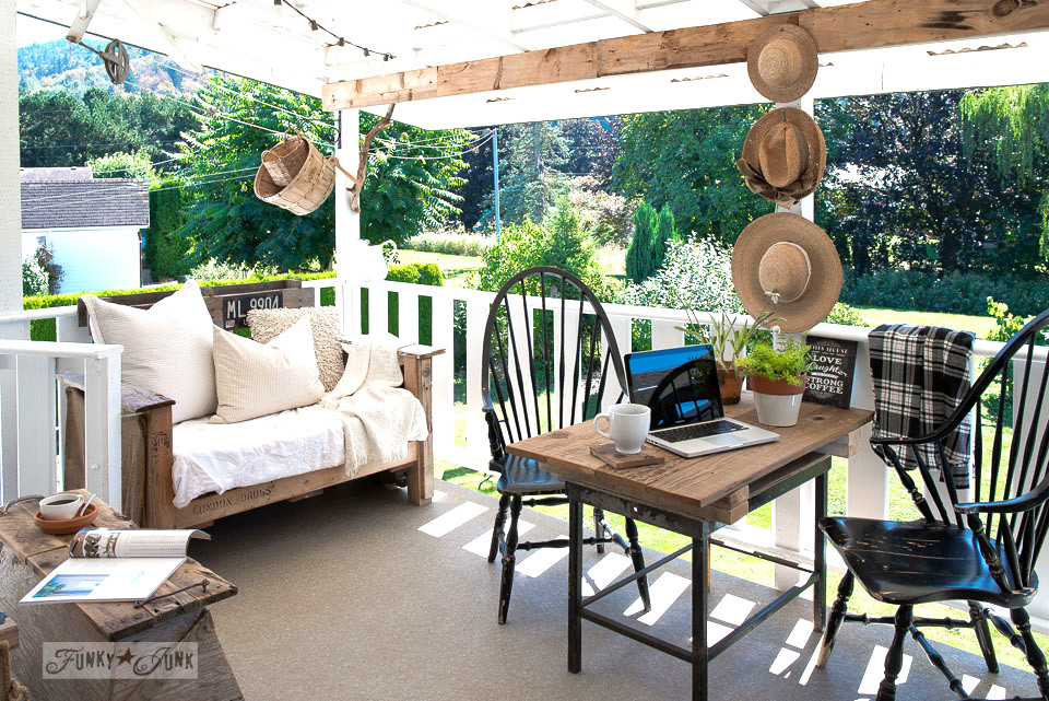 summer patio with pallet wood sofa and mini rustic farm table for the laptop | funkyjunkinteriors.net