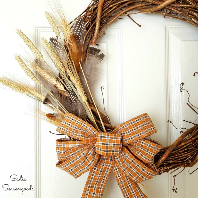 DIY flannel shirt wired ribbon, by Sadie Seasongoods, featured on Funky Junk Interiors