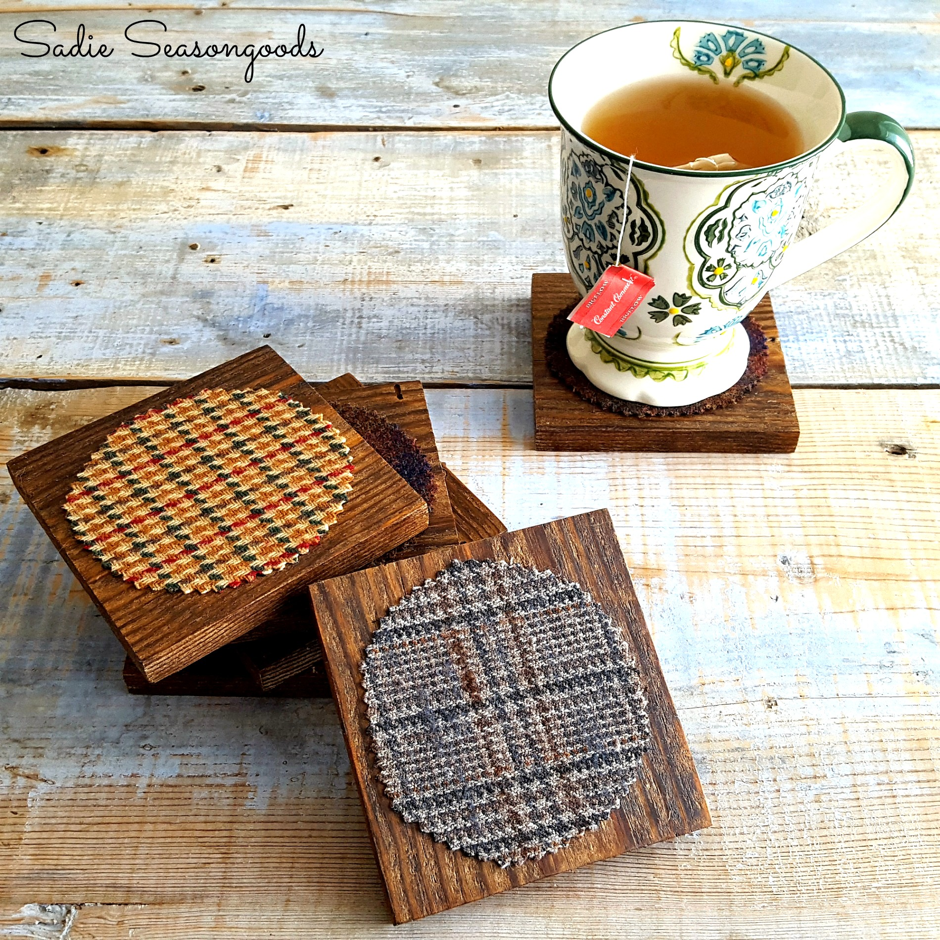 Reclaimed wood and plaid coasters for fall, by Sadie Seasongoods, featured on Funky Junk Interiors