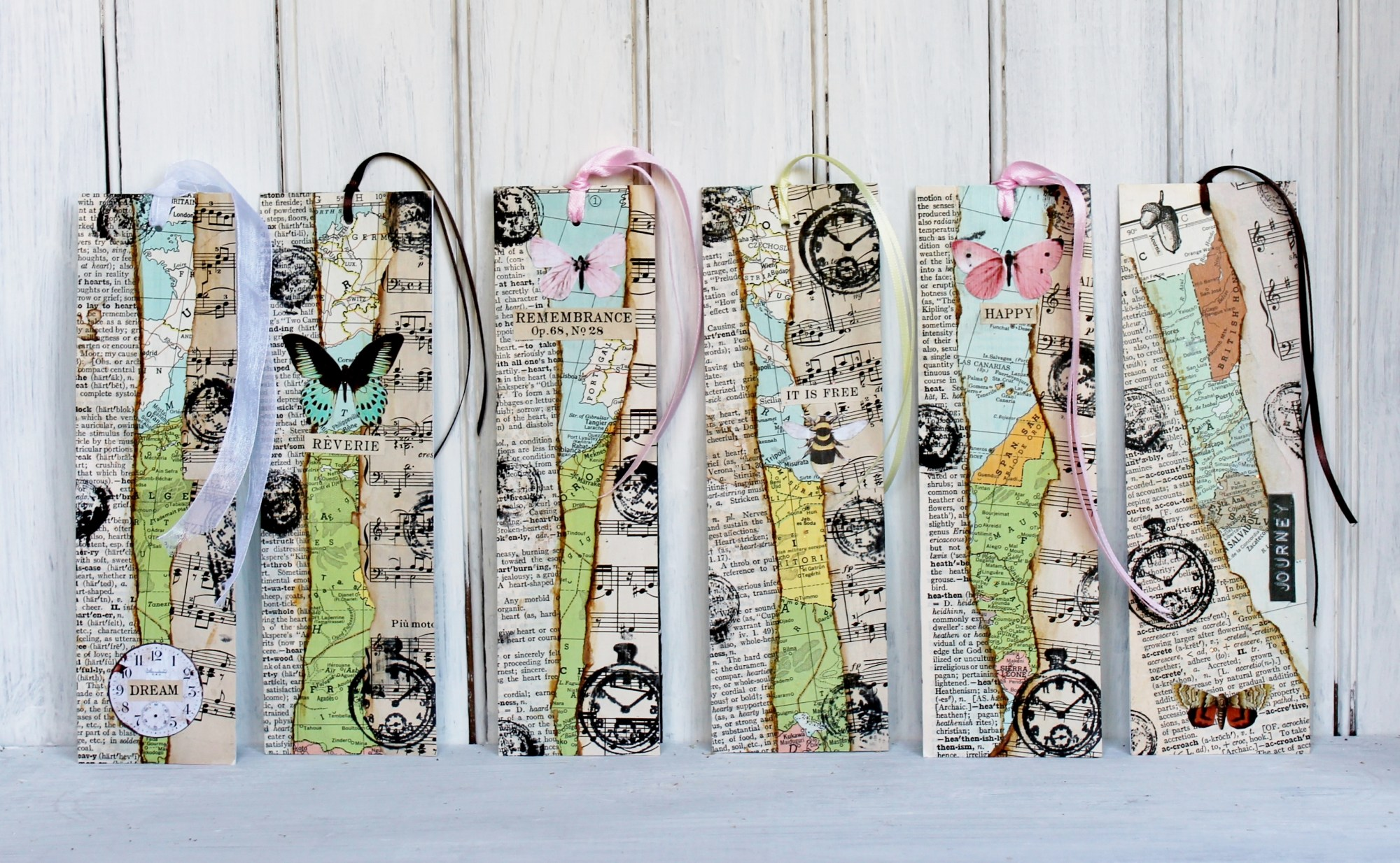 Vintage paper bookmarks, by Adirondack Girl at Heart, featured on Funky Junk Interiors