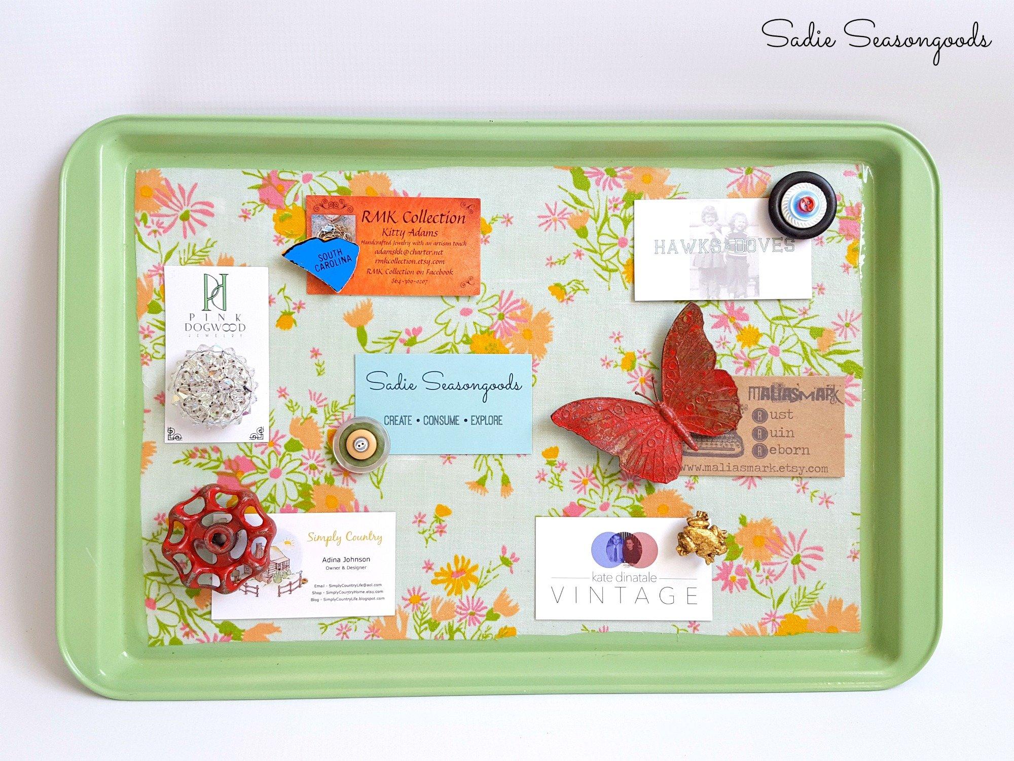 Cookie sheet magnetic board, by Sadie Seasongoods, featured on Funky Junk Interiors