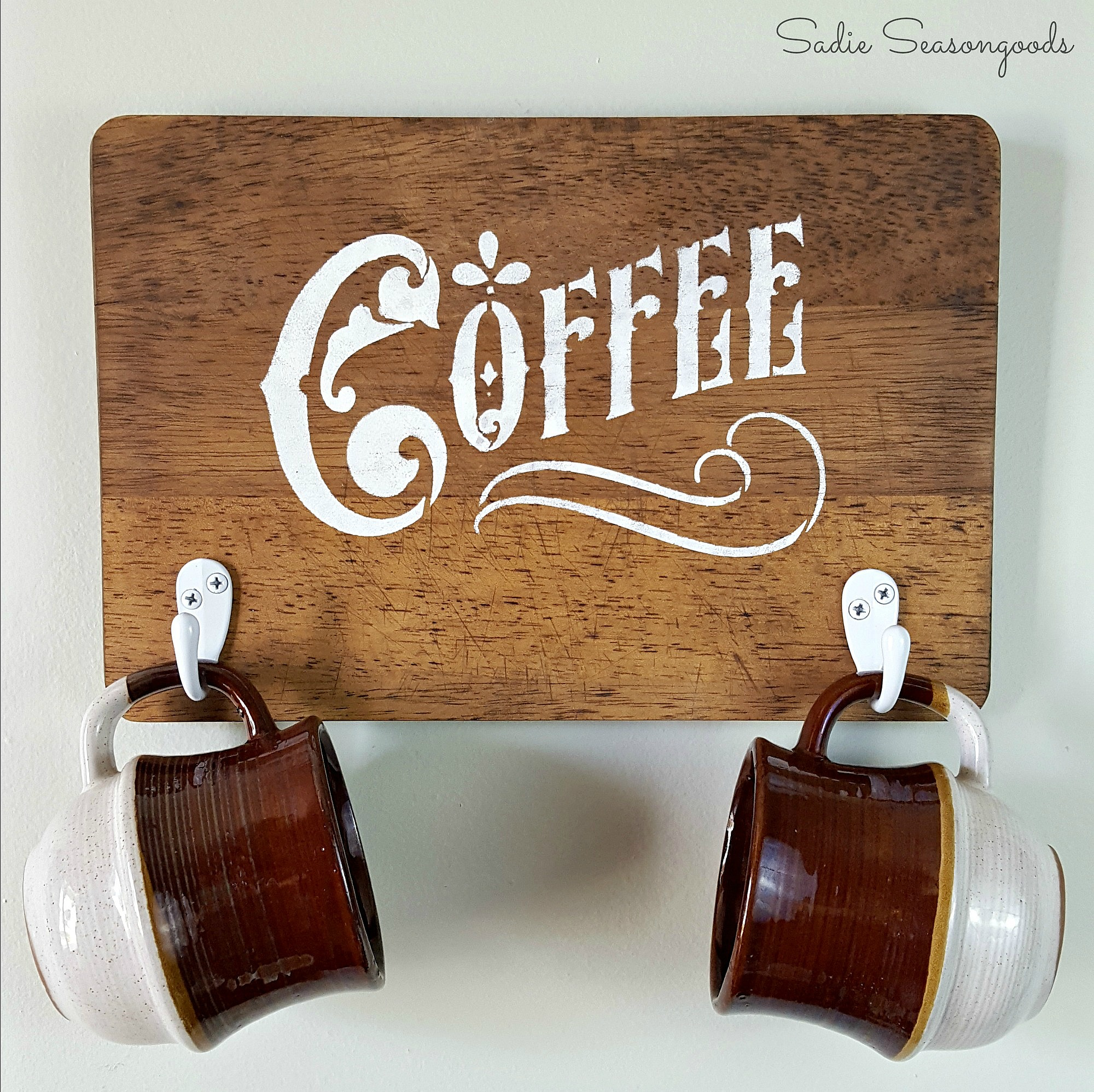 Upcycled cutting board coffee sign, by Sadie Seasongoods, featured on Funky Junk Interiors