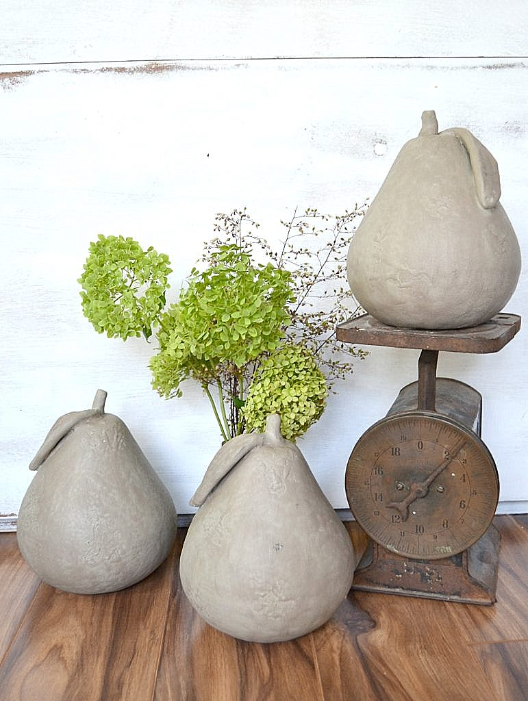 Faux concrete pears with paint, by My Creative Days, featured on Funky Junk Interiors