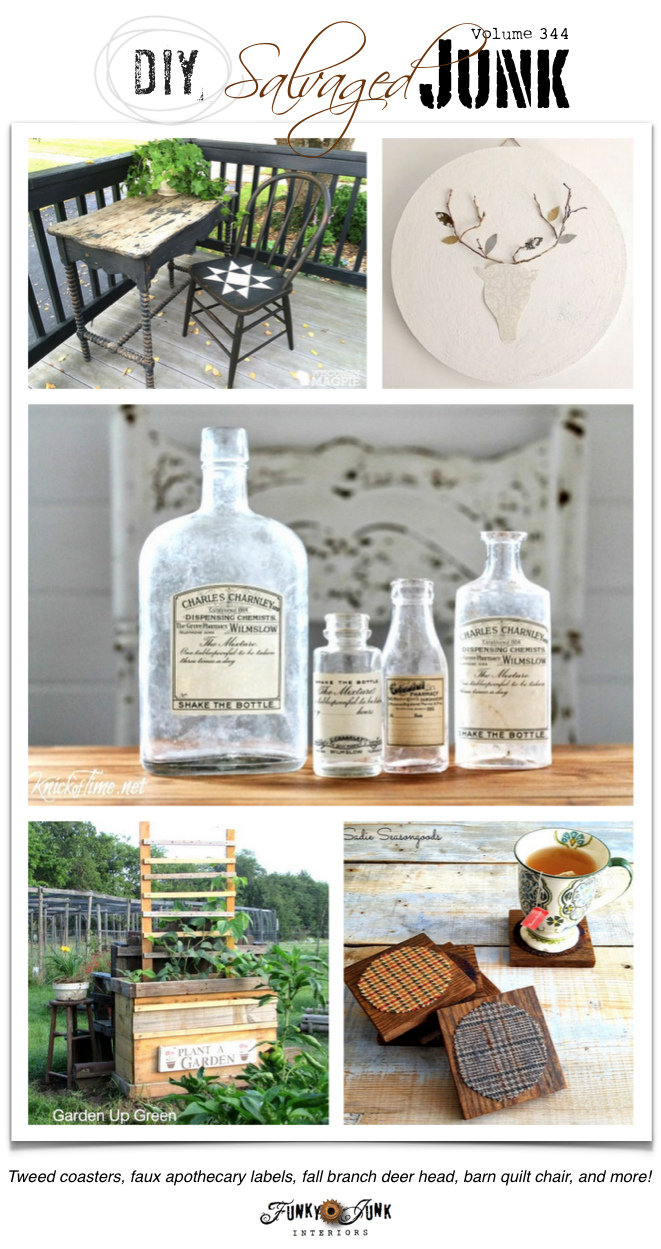 DIY Salvaged Junk Projects 344 | junk styled features and a link party on funkyjunkinteriors.net