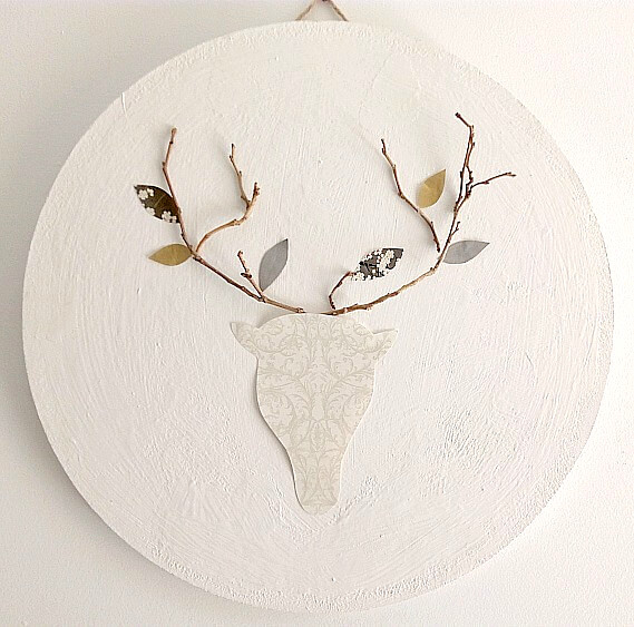 DIY deer wall art with fall leaves, by Kreativ K, featured on Funky Junk Interiors