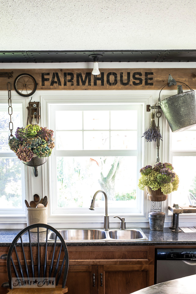Industrial FARMHOUSE window valance, with junk styled hydrangea flower holders. Using Funky Junk's Old Sign Stencils | funkyjunkinteriors.net