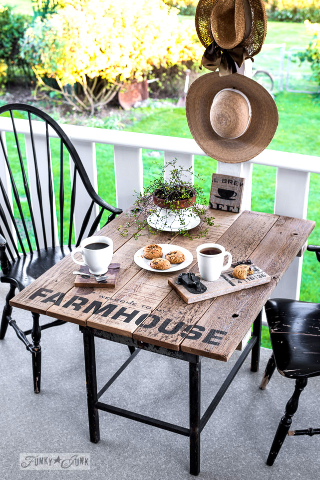 Industrial FARMHOUSE reclaimed wood farm style patio table, with stencilled coasters. Using Funky Junk's Old Sign Stencils | funkyjunkinteriors.net