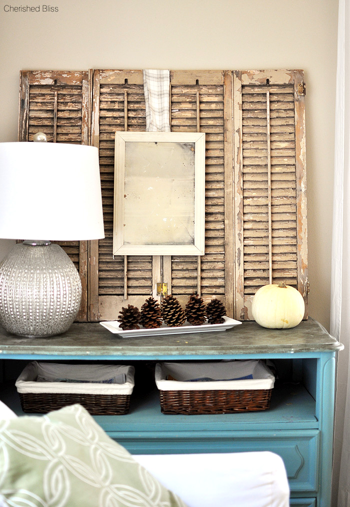 Rustic fall decorating with shutters and repurposed finds, by Cherished Bliss, featured on Funky Junk Interiors