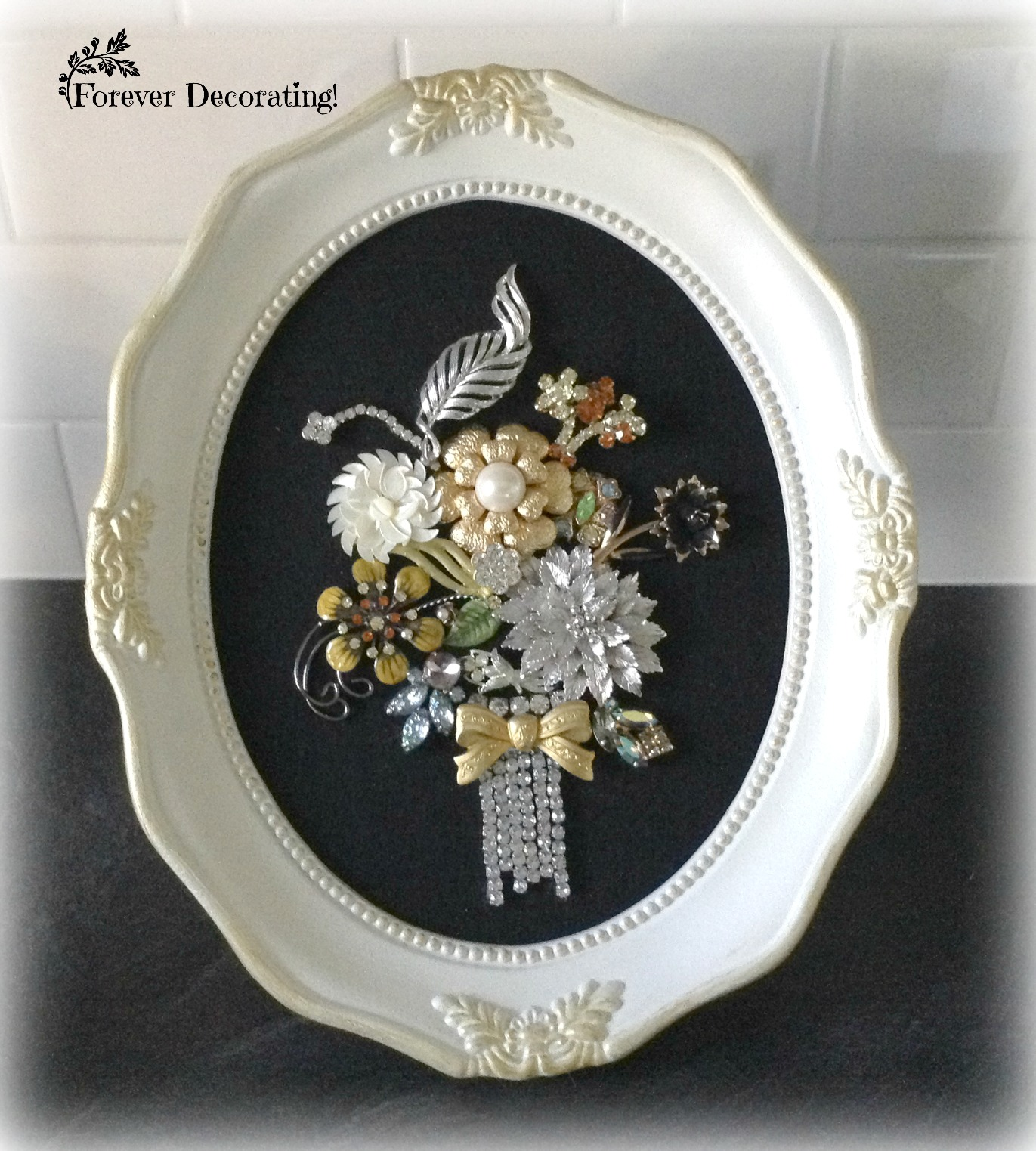 Costume jewelry flower bouquet picture art, on Forever Decorating, featured at Funky Junk Interiors