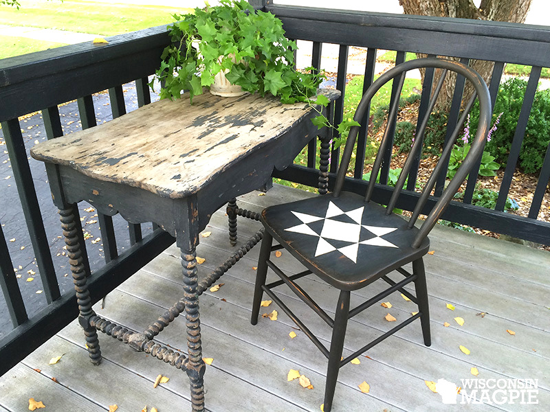 Painting a barn quilt styled antique chair, by Wisconsin Magpie, featured on Funky Junk Interiors