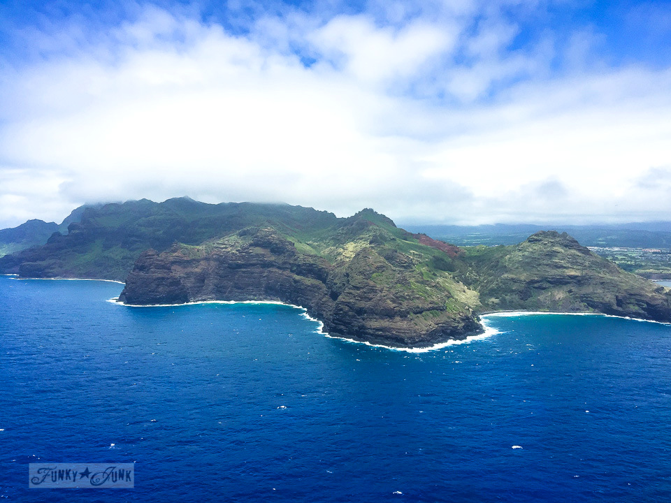Approaching Kauai by air from Maui | funkyjunkinteriors.net