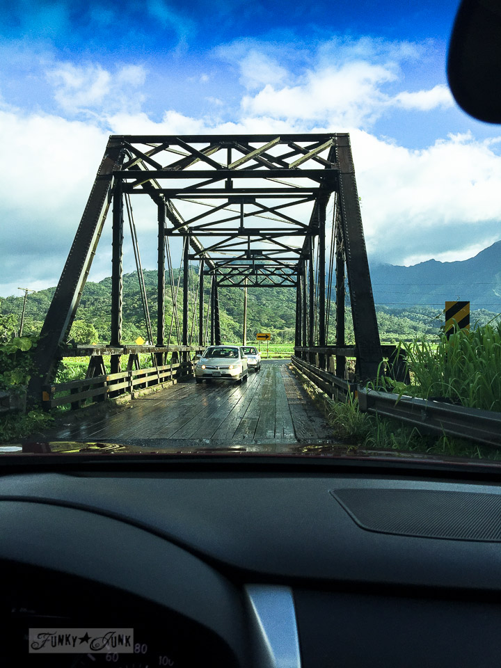 On the way to Hanalei, on Kauai, over one of many one way bridges | funkyjunkinteriors.net