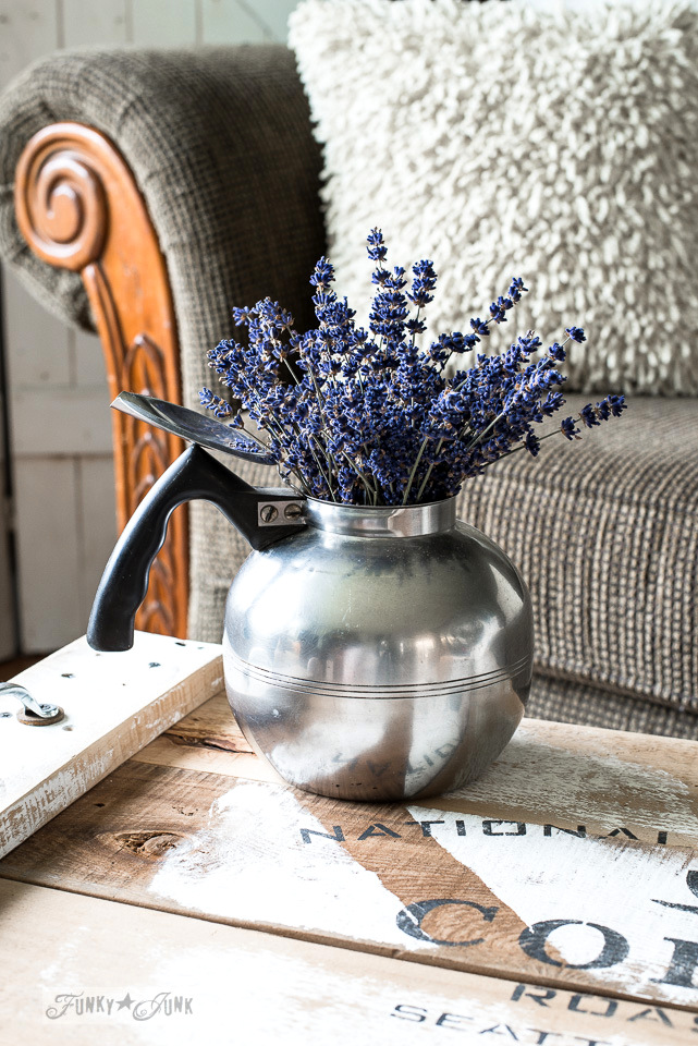 antique kettle holding lavender, on a reclaimed wood coffee tray with Funky Junk's Old Sign Stencils | funkyjunkinteriors.net