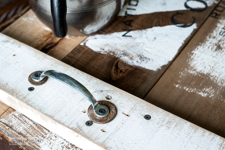 rustic hardware layered for extra eye candy on this reclaimed wood coffee tray with Funky Junk's Old Sign Stencils | funkyjunkinteriors.net