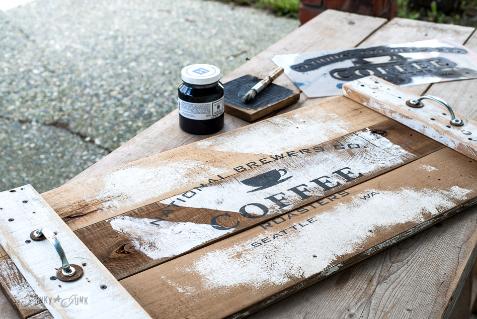 3rd generation reclaimed wood coffee tray, using Funky Junk's Old Sign Stencils and Fusion Mineral Paint | funkyjunkinteriors.net