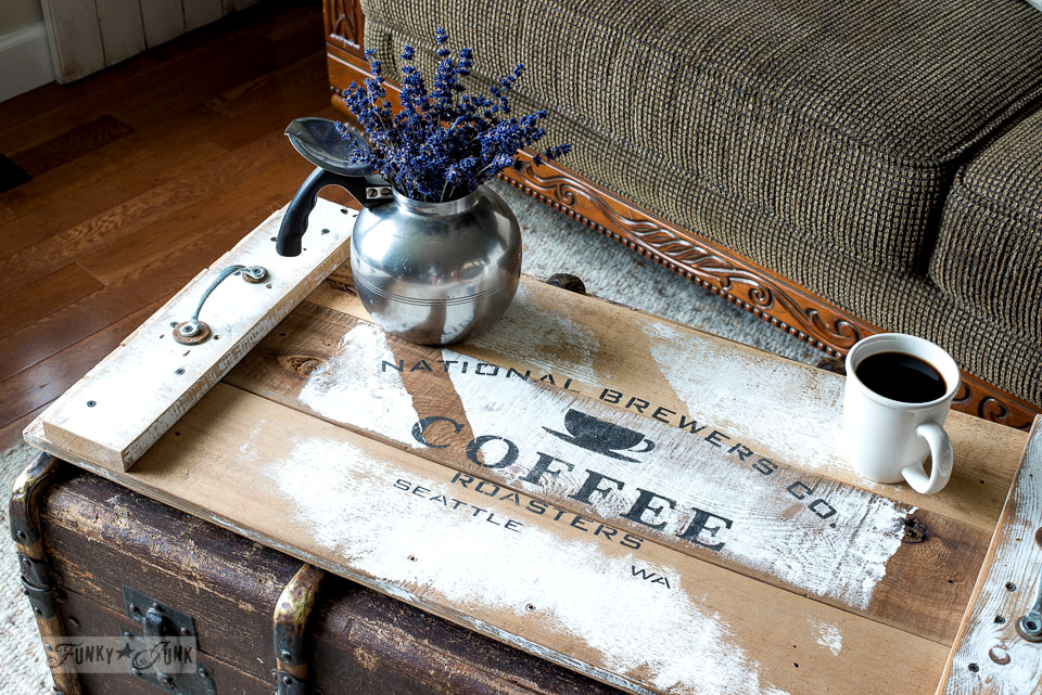 3rd generation reclaimed wood coffee tray, using Funky Junk's Old Sign Stencils | funkyjunkinteriors.net