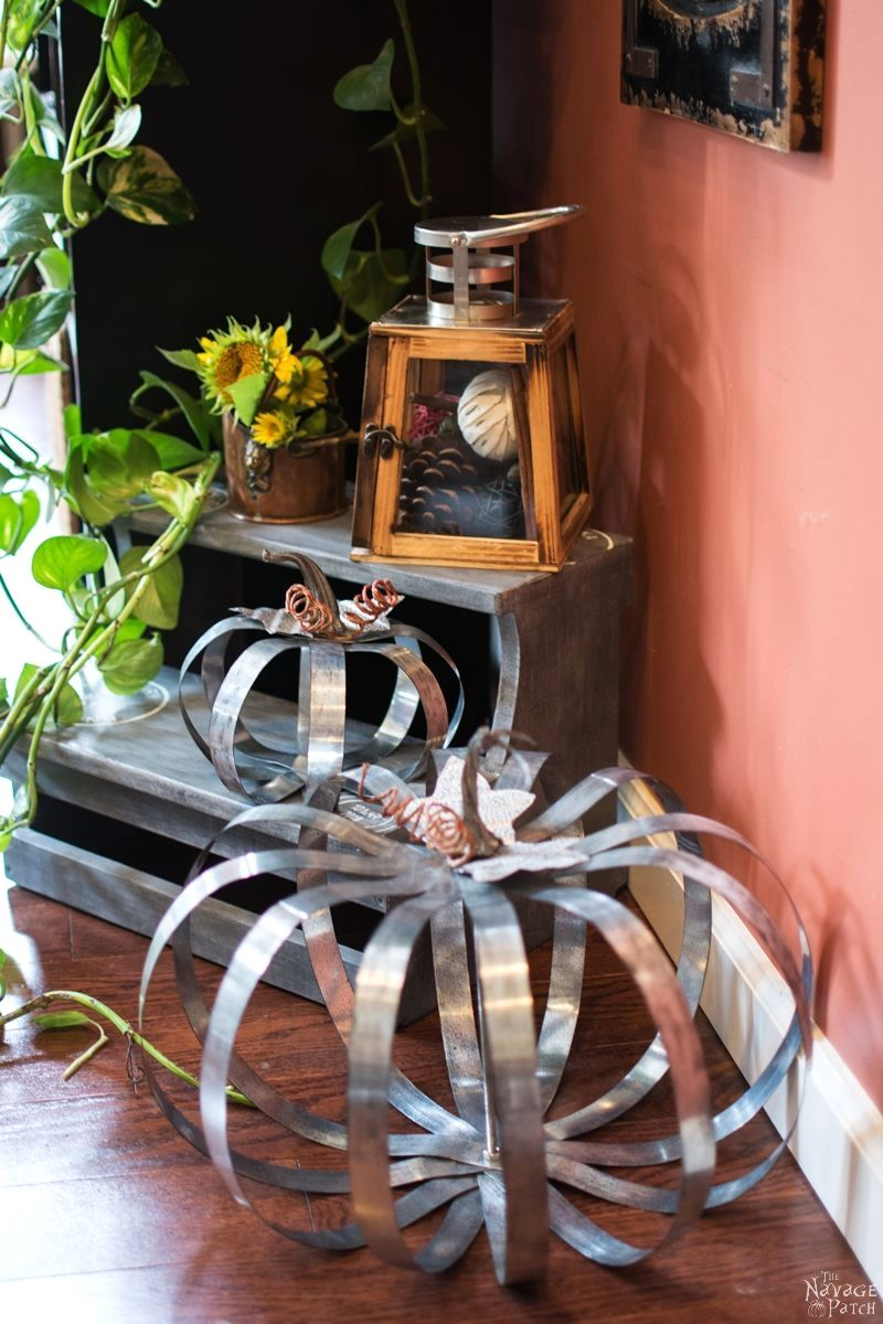 Pottery Barn inspired metal pumpkins, by The Navage Patch, featured on Funky Junk Interiors