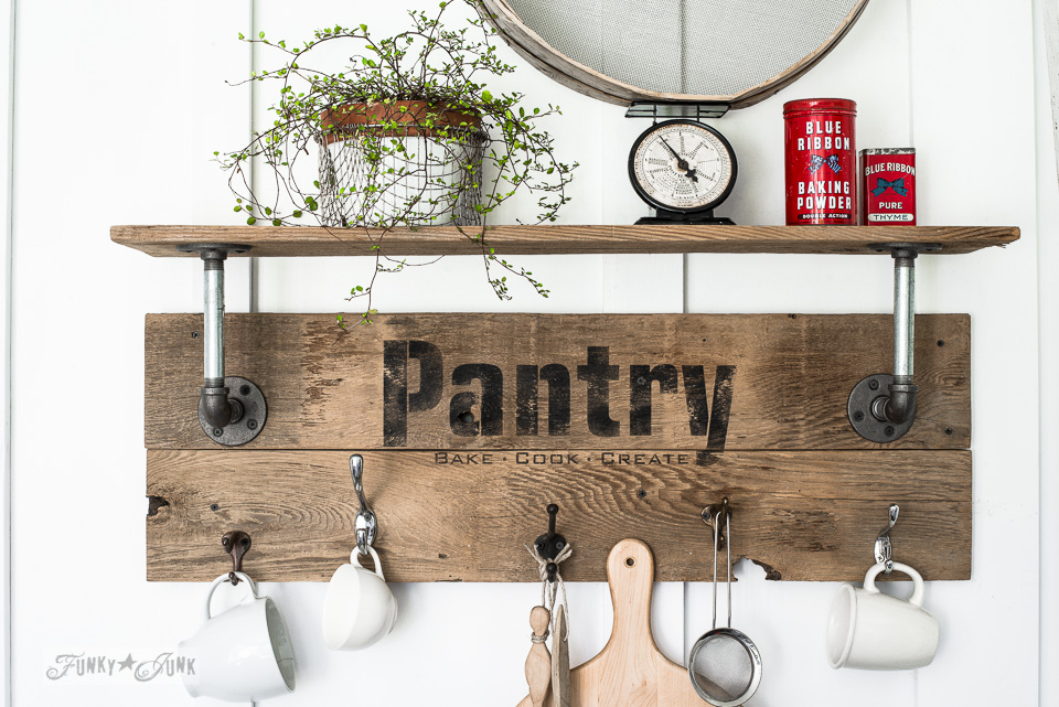 rustic industrial pantry pipe shelf