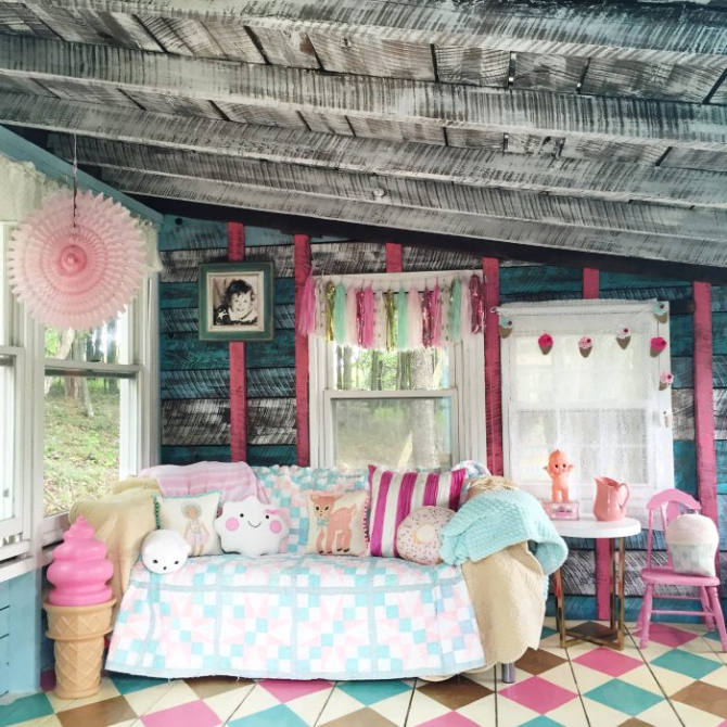 Shed turned whimsical playhouse, by Lolly Jane, featured on Funky Junk Interiors