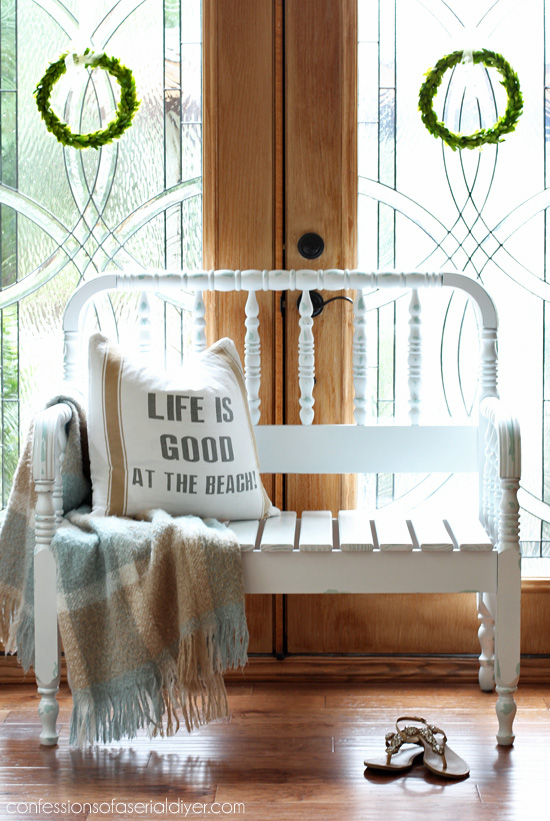 Spindle headboard bench, by Confessions of a Serial DIYer, featured on Funky Junk Interiors