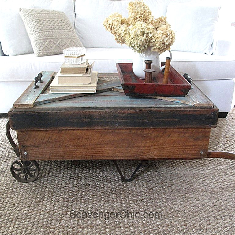 Upcycled antique hand cart coffee table, by Scavenger Chic, featured on Funky Junk Interiors