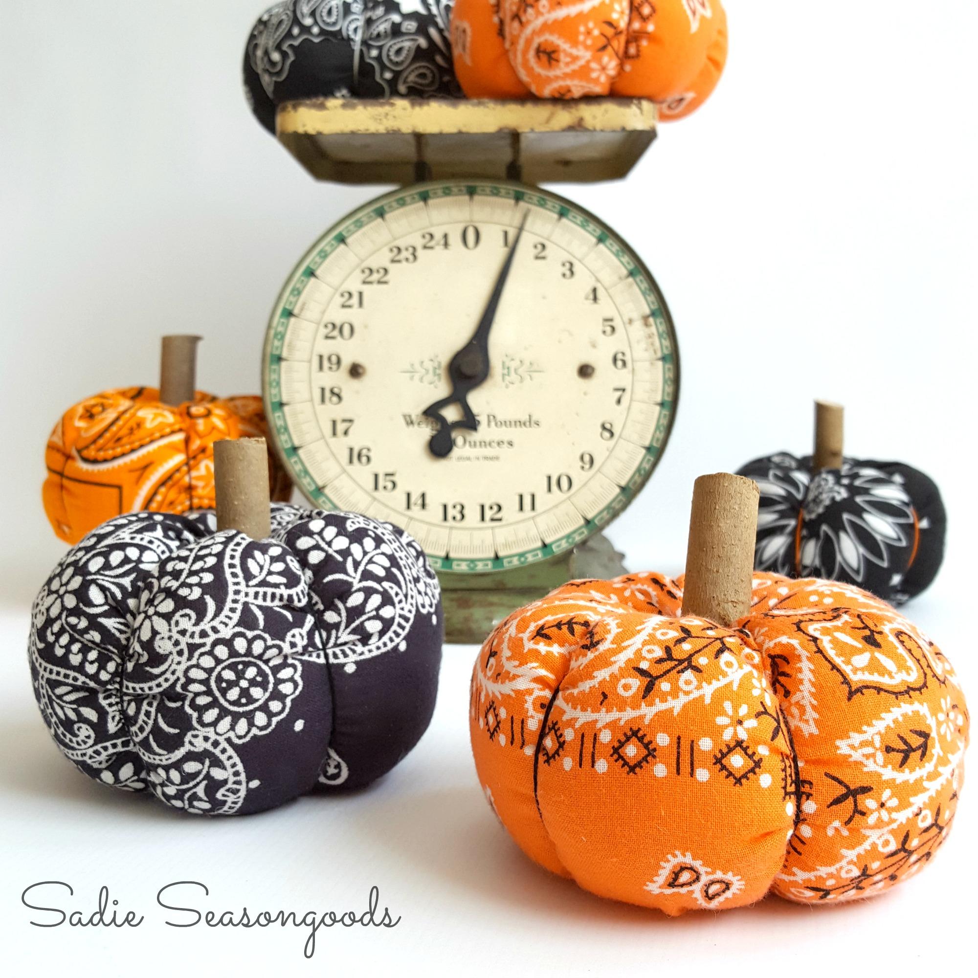 DIY bandana fall pumpkins, by Sadie Seasongoods, featured on Funky Junk Interiors