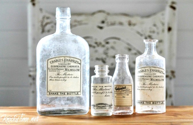 DIY antique apothecary bottle labels, by Knick of Time, featured on Funky Junk Interiors