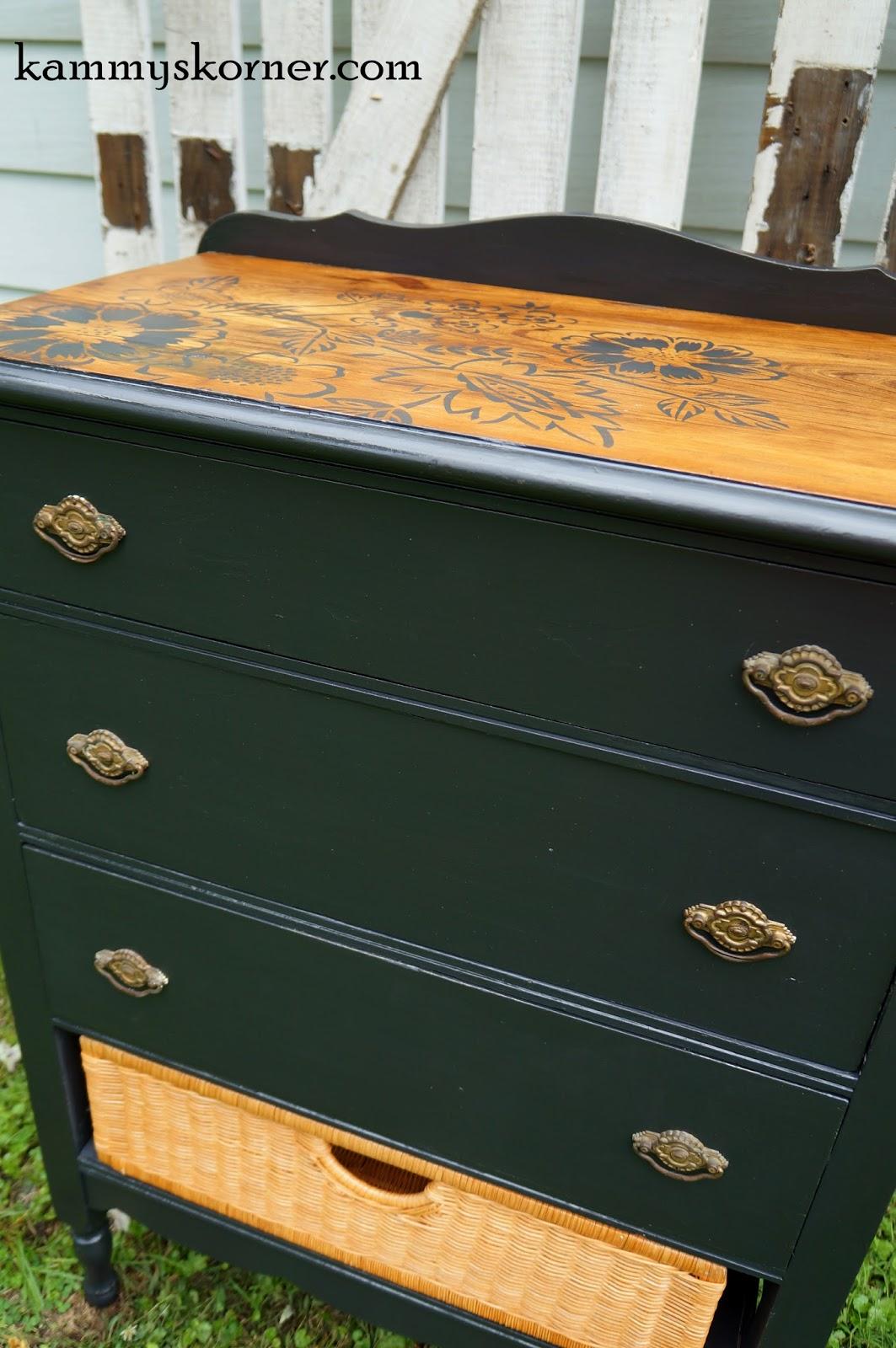 Stencilled dresser wood fix, by Kammy's Korner, featured on Funky Junk Interiors