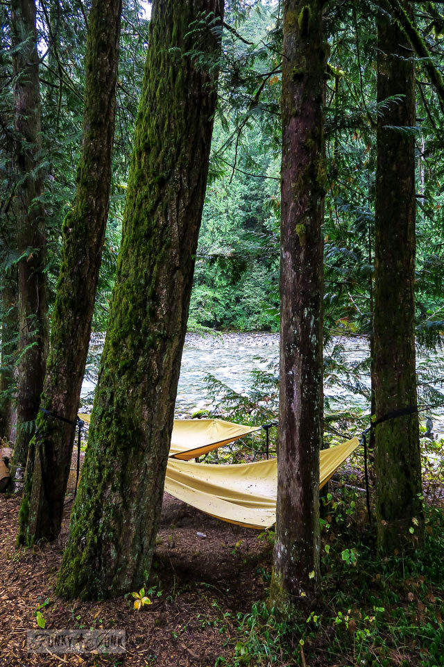 Hammocks by the river at the Eco Retreat in Hope, British Columbia, Canada | funkyjunkinteriors.net