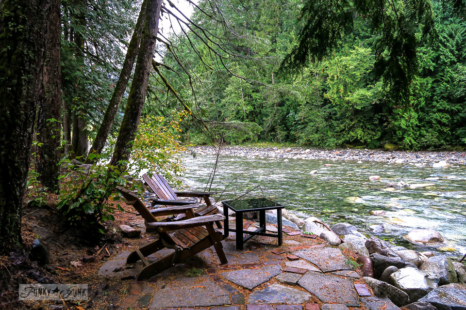 Seating by the river at the Eco Retreat in Hope, British Columbia, Canada | funkyjunkinteriors.net